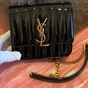YSL handbag patent leather, black